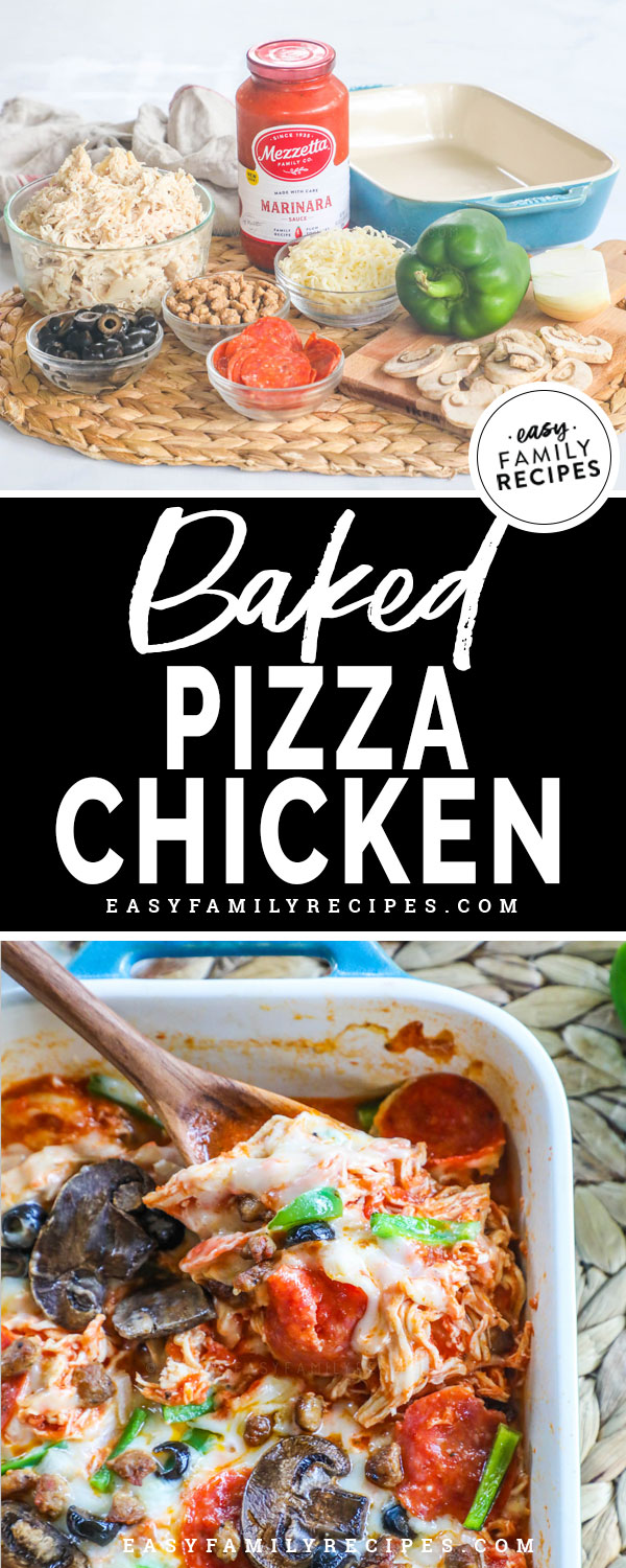 Pizza Chicken Ingredients- Shredded chicken, marinara sauce, cheese, bell pepper, onions, pepperoni, Sausage, olives
