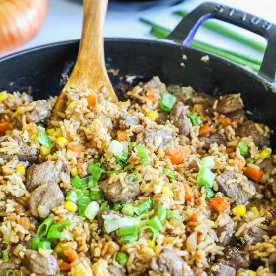 Steak Fried Rice Recipe prepared in a cast iron skillet