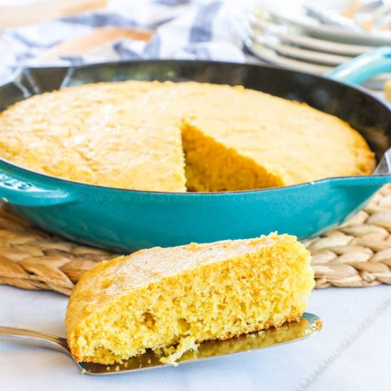 Slice of Homemade Buttermilk Cornbread made in a cast iron skillet