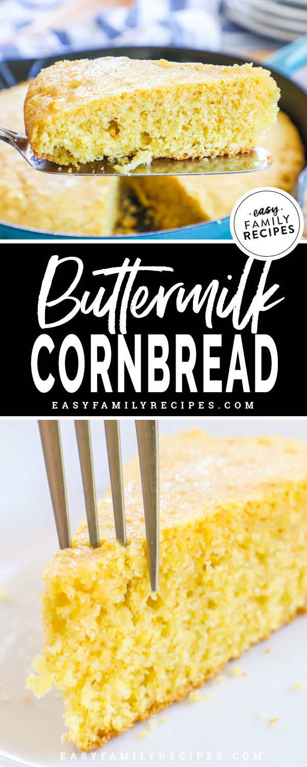Moist homemade cornbread slice so tender you can see the crumbs