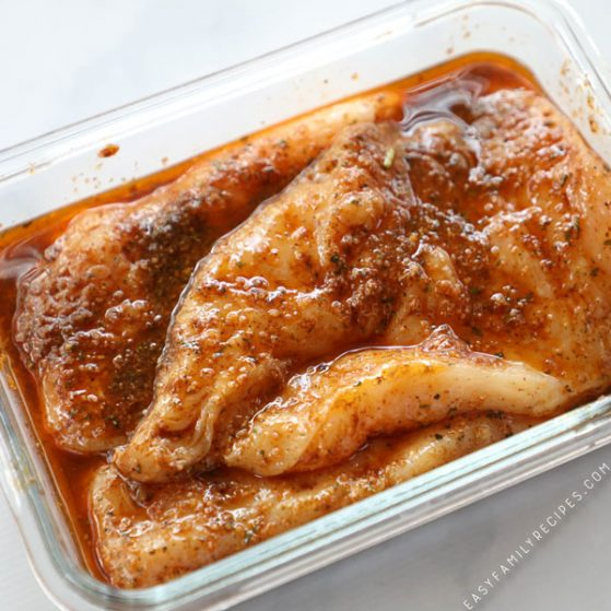 Chicken in Fajita Marinade in dish