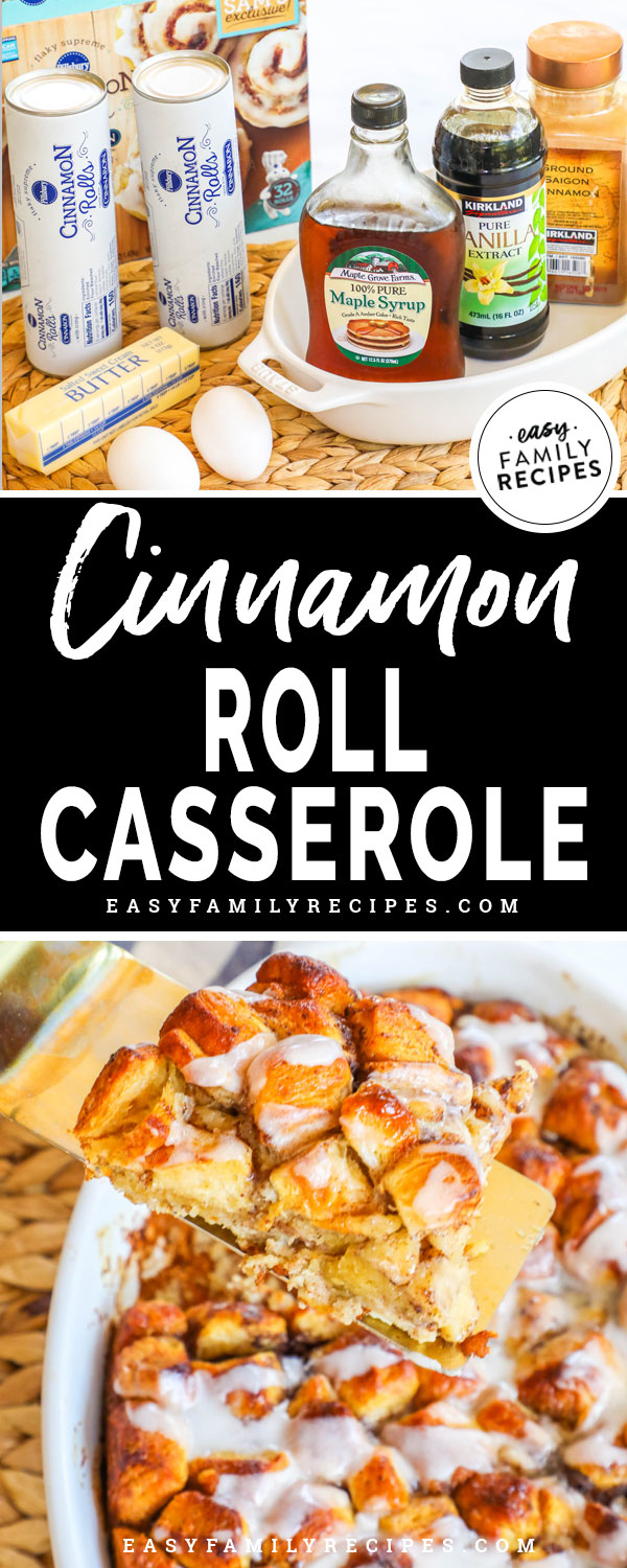 Cinnamon Roll French Toast Casserole Ingredients - Pillsbury cinnamon rolls, eggs, milk, maple syrup