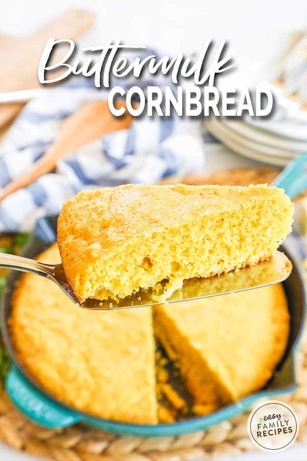 Perfectly sliced buttermilk cornbread made from scratch in a cast iron skillet