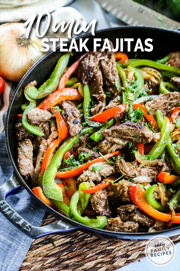 Easy Steak Fajitas made in a skillet