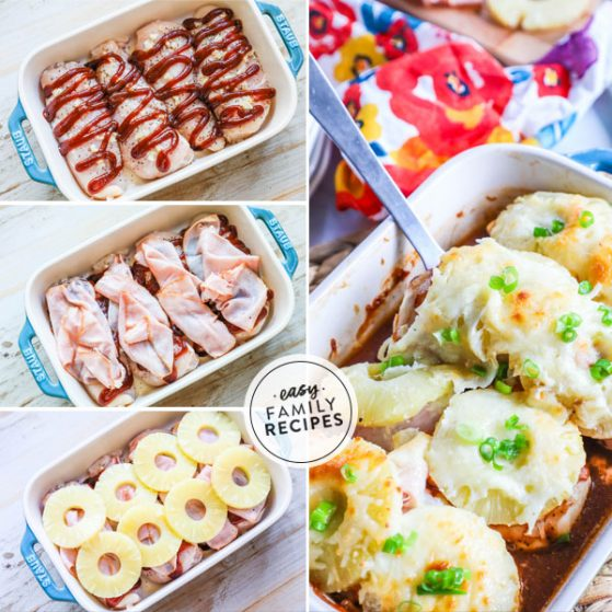 Step by Step Hawaiian Chicken in a casserole dish