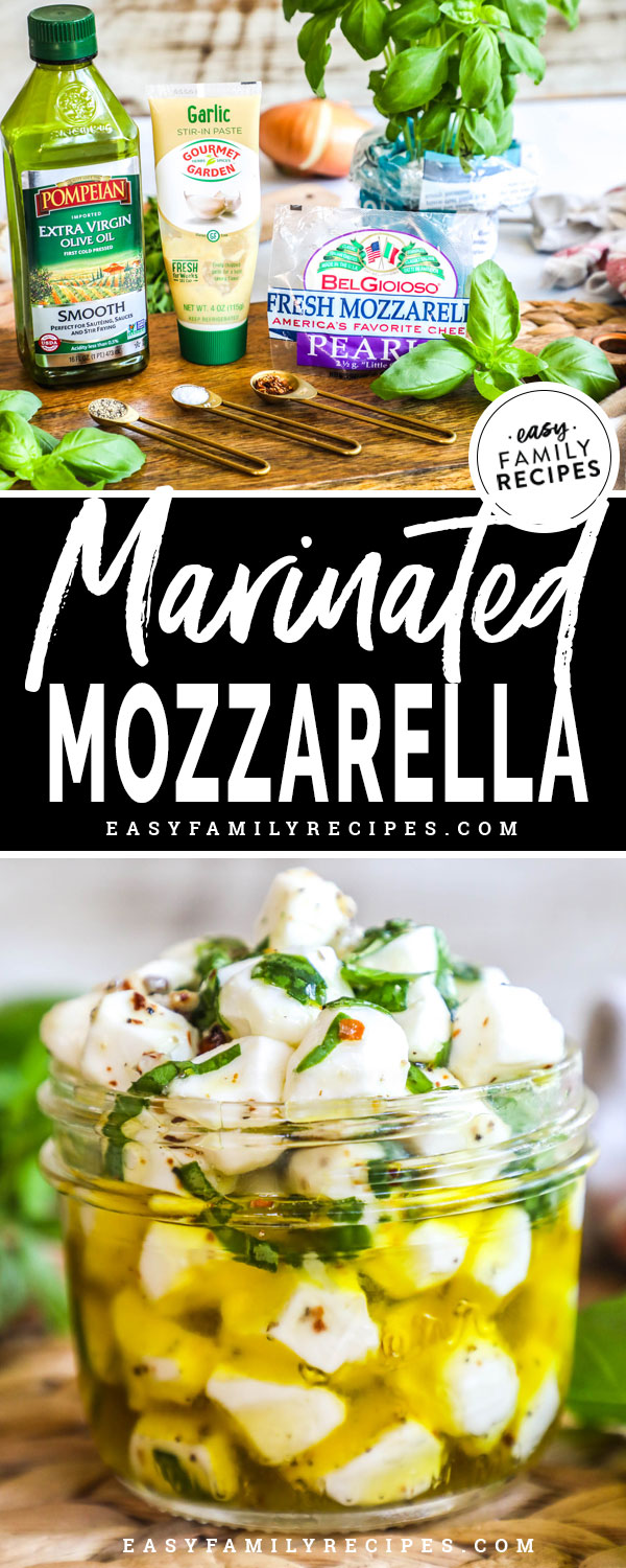 Marinated Mozzarella Balls ingredients including olive oil, fresh mozzarella, garlic, salt, pepper, crushed red pepper, and fresh basil