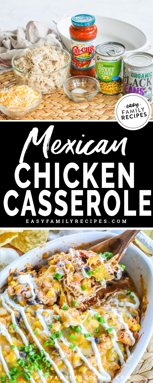Mexican Chicken Casserole Ingredients- Salsa, Shredded Chicken, Corn, Black beans, spices, casserole dish