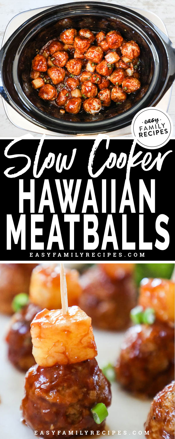 Hawaiian BBQ Meatballs in the crockpot