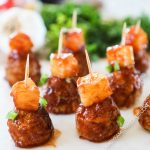 Crockpot BBQ Meatballs topped with Pineapple