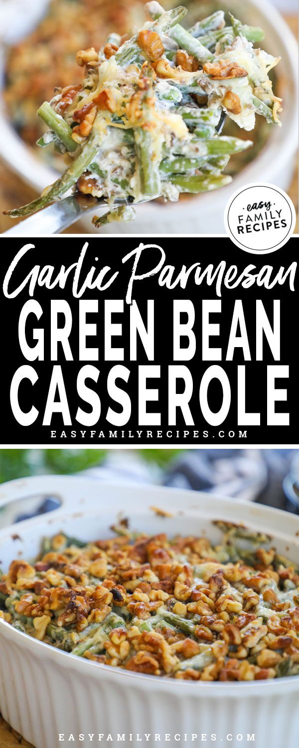 Spoonful of Easy Green Bean Casserole topped with walnuts