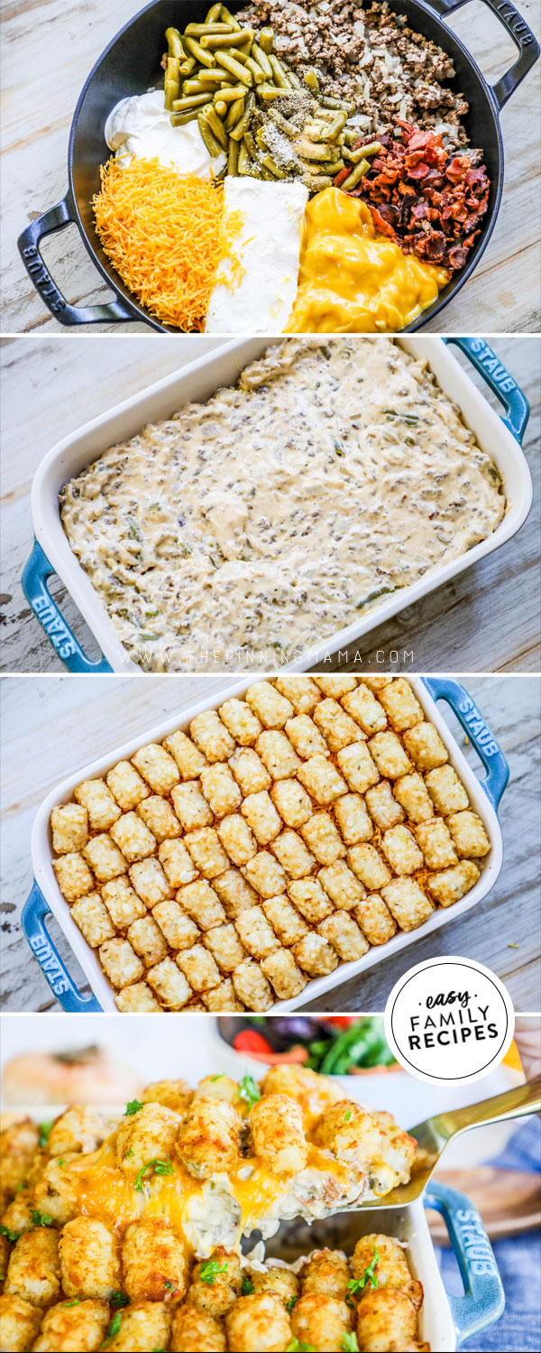 Process photos for how to make Cheesy Tater tot casserole with green beans and bacon