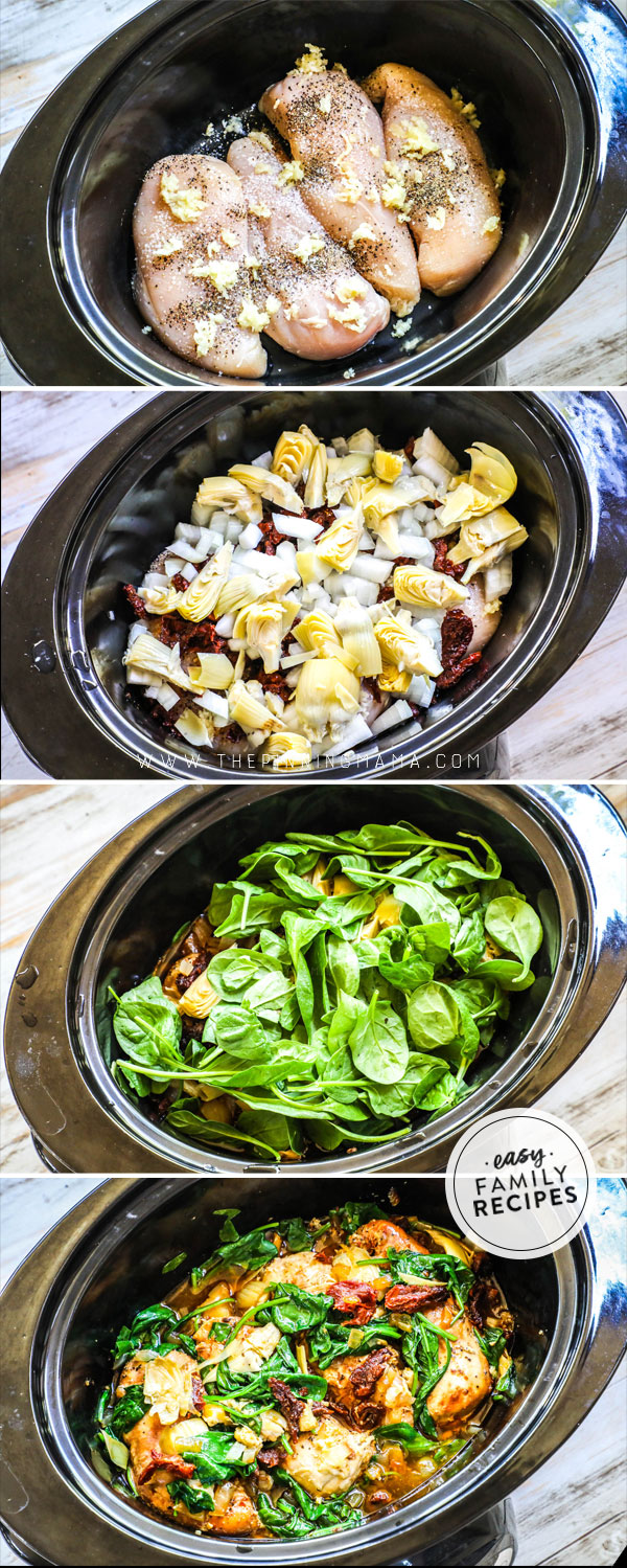 Process photos for How to Make Tuscan Chicken in Crock Pot