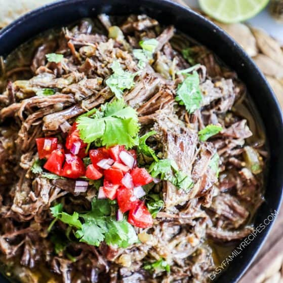 Mexican Shredded Beef topped with cilantro and pico de gallo
