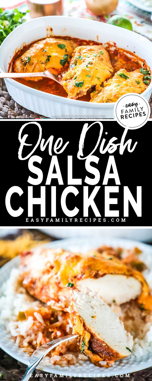Salsa Chicken in a Casserole Dish ready to bake
