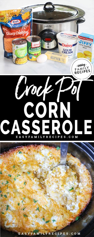 Crockpot Corn Casserole Ingredients- Jiffy Cornbread Mix, Corn, creamed corn, egg, sour cream and cheddar cheese