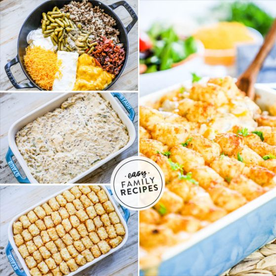 Step by Step to make Cheesy Tater tot casserole with green beans and bacon