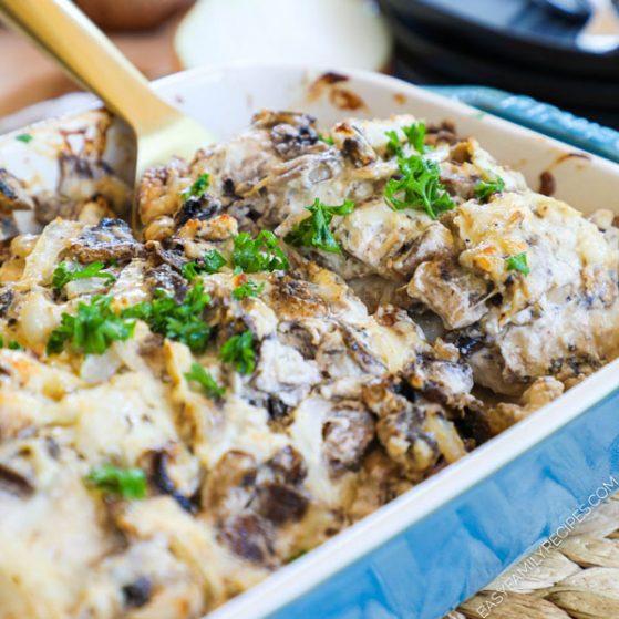 Mushroom Chicken Bake in Casserole Dish