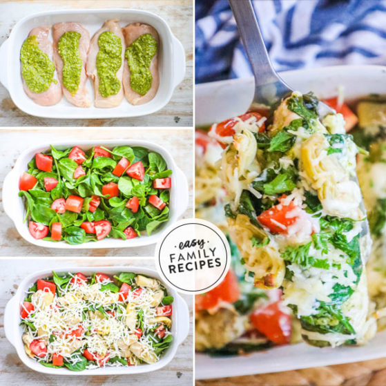 Step by Step for making Baked Spinach Pesto Chicken