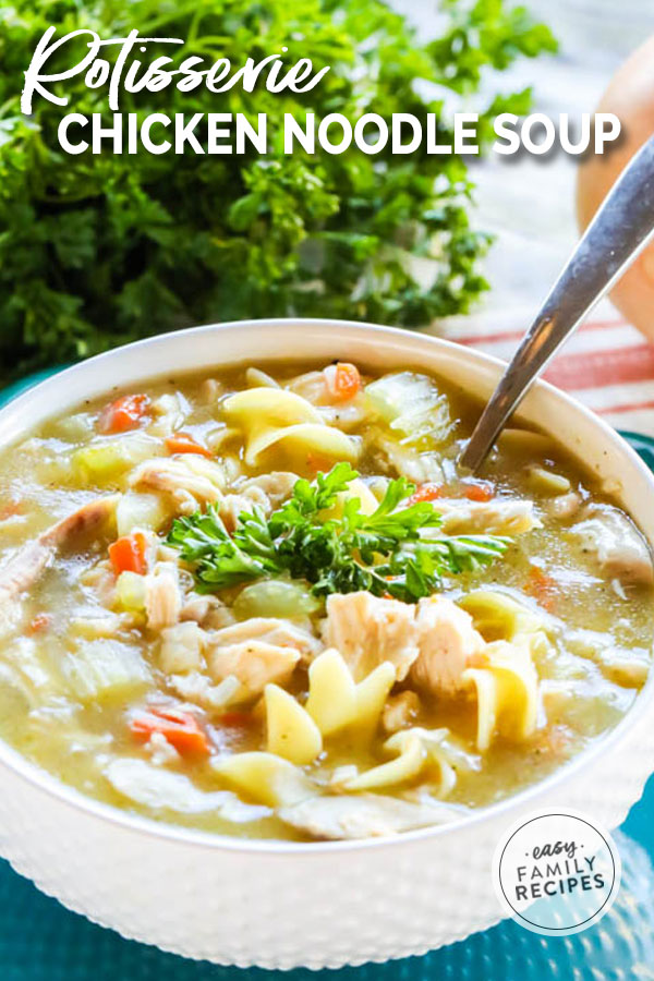 Best Chicken Noodle Soup in a bowl served thick and hot!