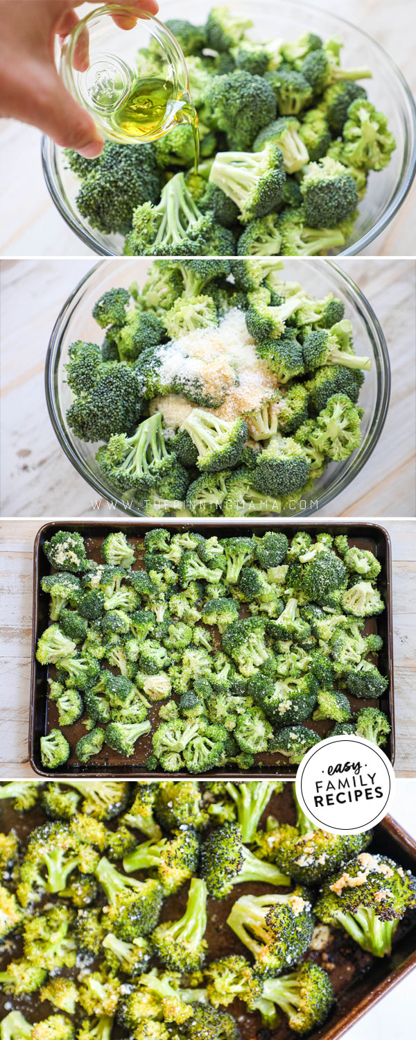Process photos for how to bake broccoli in the oven