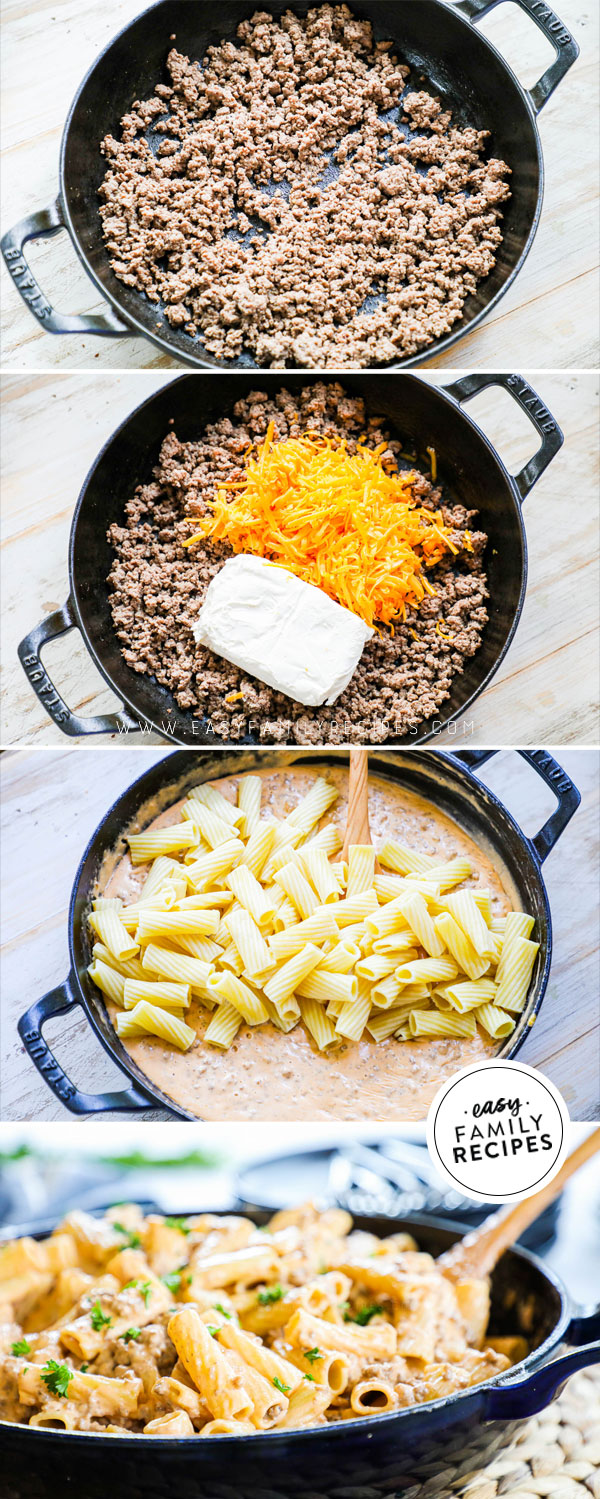 Process photos for how to make cheeseburger pasta