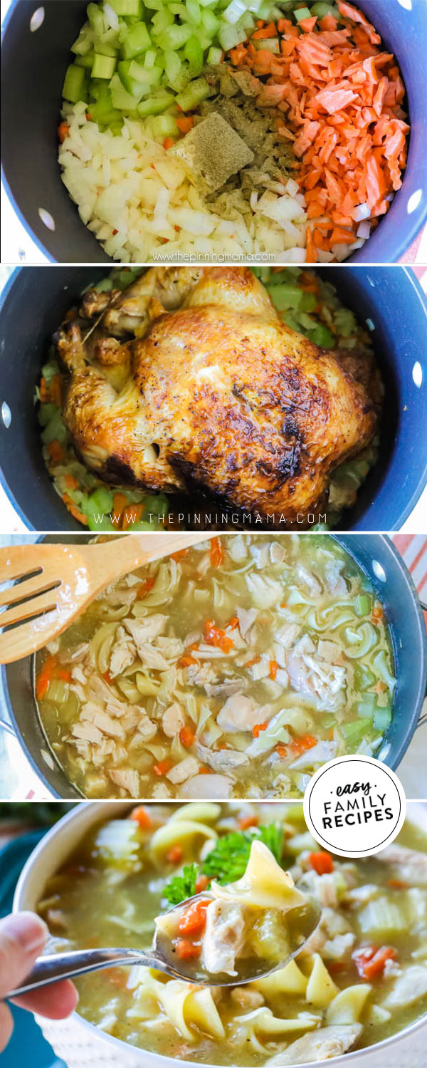 rotisserie chicken noodle soup · easy family recipes