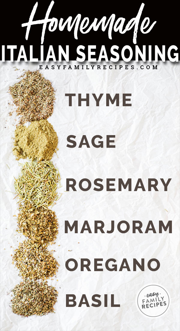 Italian Seasoning Ingredients including Thyme, sage, rosemary, marjoram, basil, oregano