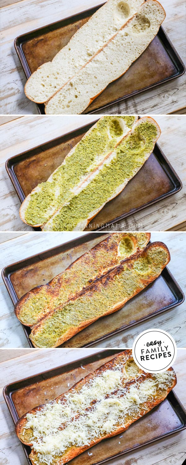 Steps for making pesto cheese bread.