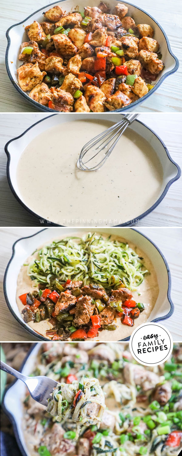 Process photos of how to make Low Carb Cajun Chicken Alfredo Zoodles