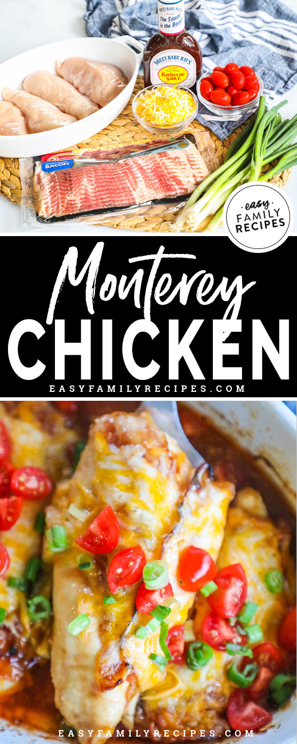 Monterey Chicken Ingredients - Chicken Breast, BBQ sauce, bacon, cheese, tomatoes, onion