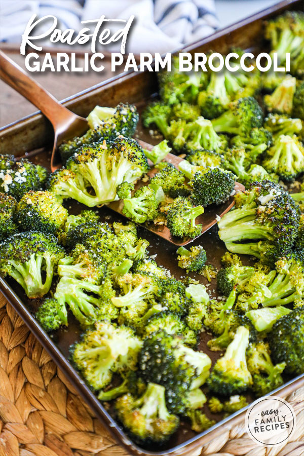 Baked Broccoli with garlic and parmesan cheese on a baking sheet fresh out of the oven.