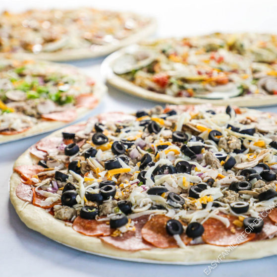 Pizzas with different topping combinations