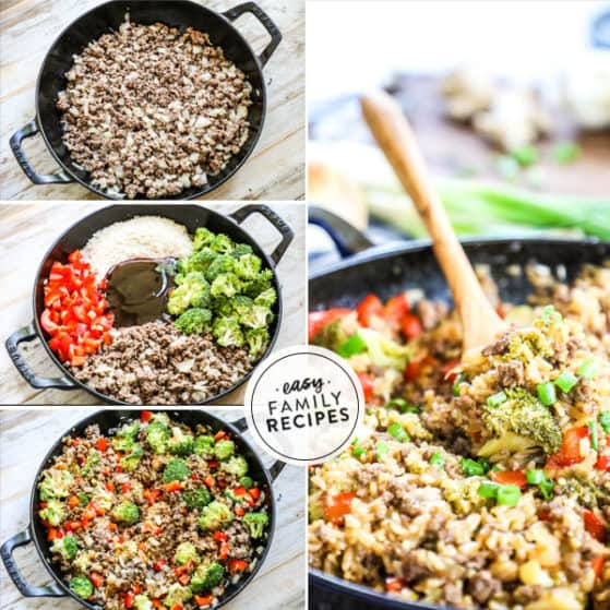 Step by Step making Teriyaki Ground Beef and Rice skillet