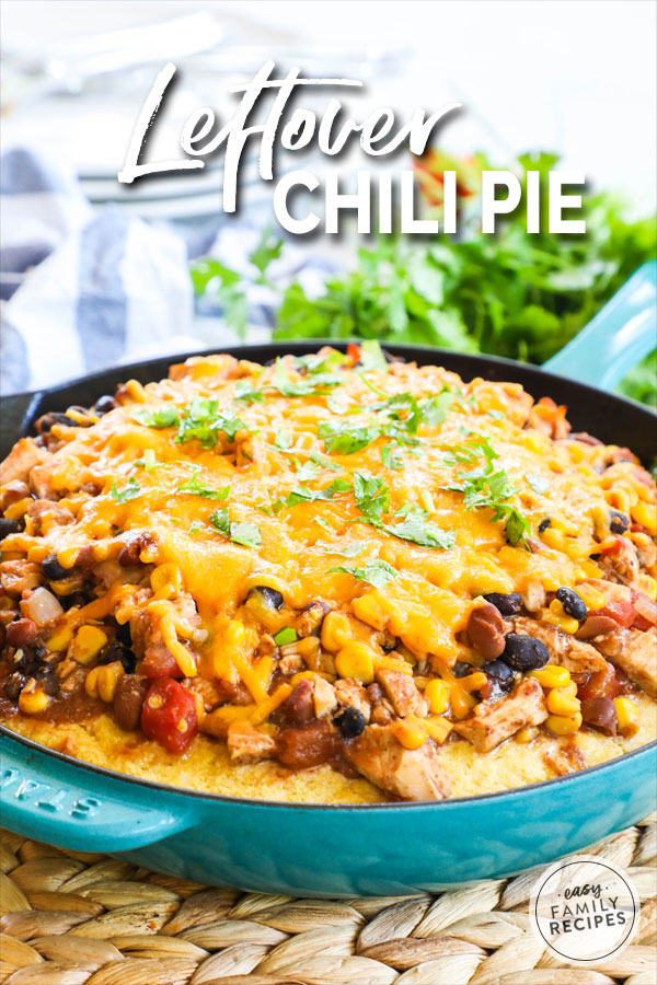 Chili piled on cornbread and topped with cheese then baked to make chili pie