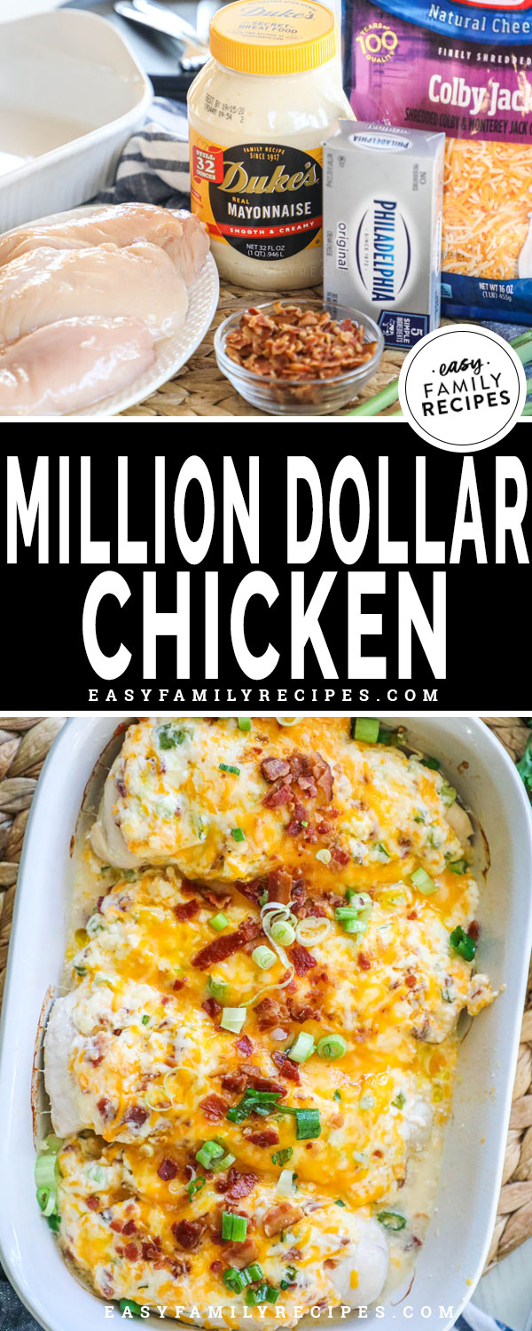 Million Dollar Chicken Ingredients including mayo, cream cheese, cheddar, chicken breast, green onions, bacon