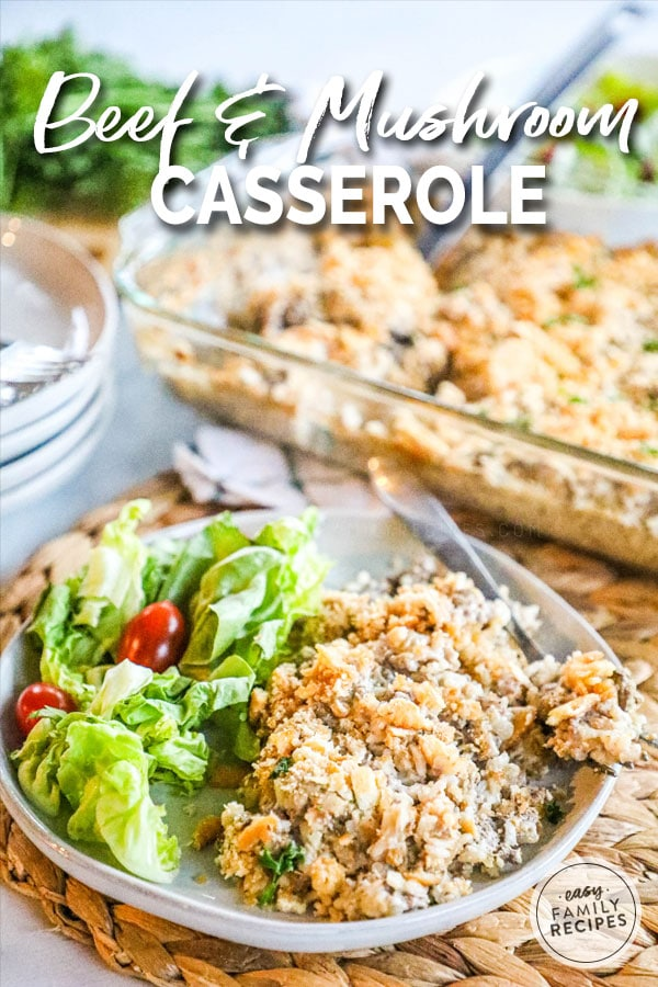 Creamy Beef and Mushroom Casserole on a plate with salad