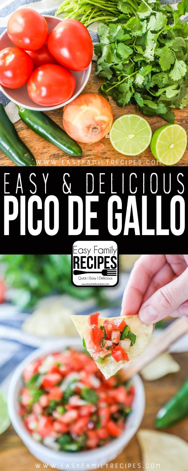 Pico de gallo ingredients including tomatoes, cilantro, jalapeno, lime and onion