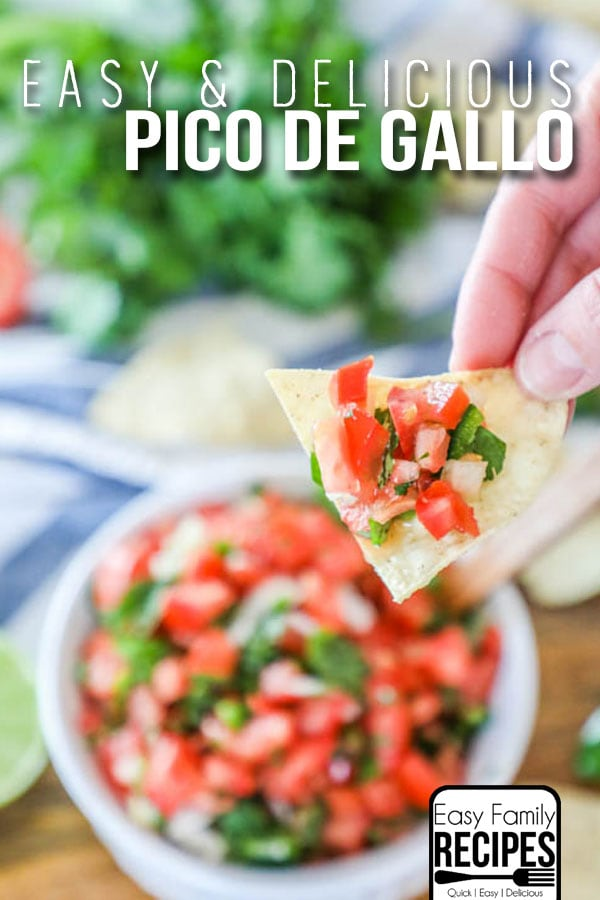 Homemade pico de gallo being lifted from dish on a chip