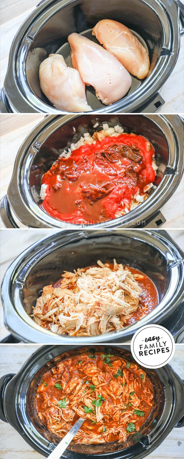Process photos for how to make chipotle chicken in the crock pot.