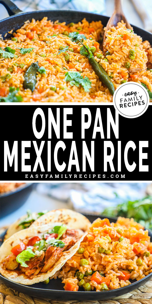 Skillet with Mexican red rice
