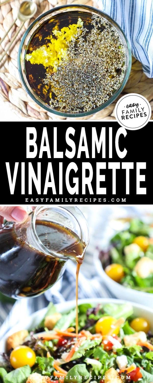 Mixing balsamic vinaigrette in glass bowl