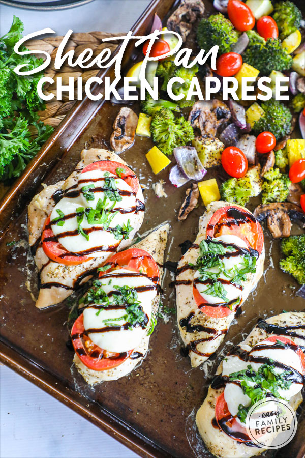 Caprese Chicken drizzled with Balsamic glaze on a Sheet Pan