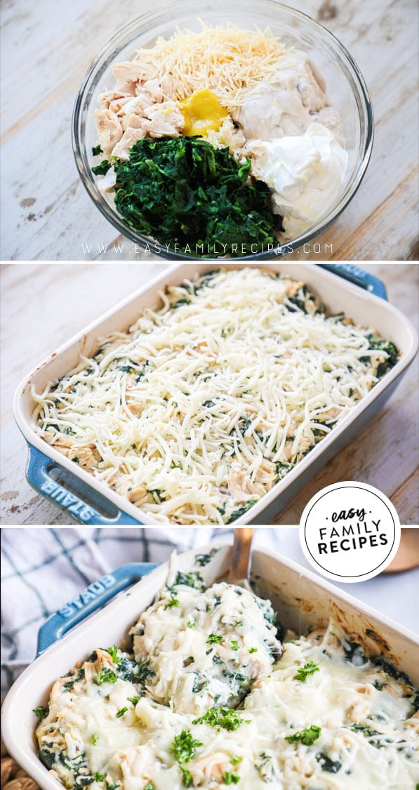 Process photos for how to make Baked Chicken Florentine Casserole