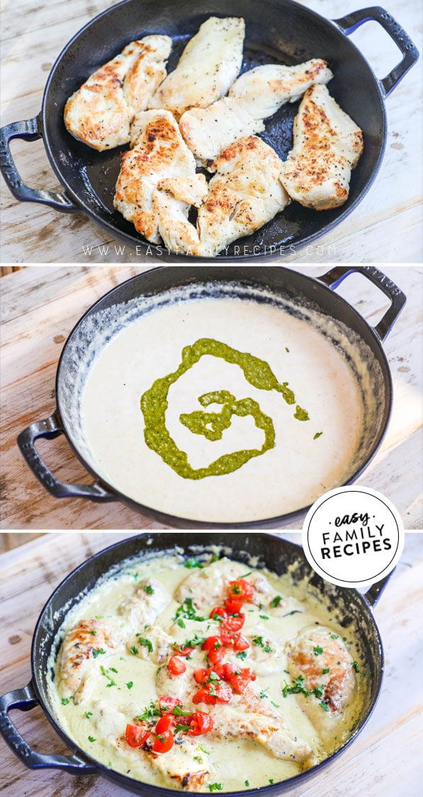Process photos for making chicken with pesto cream sauce