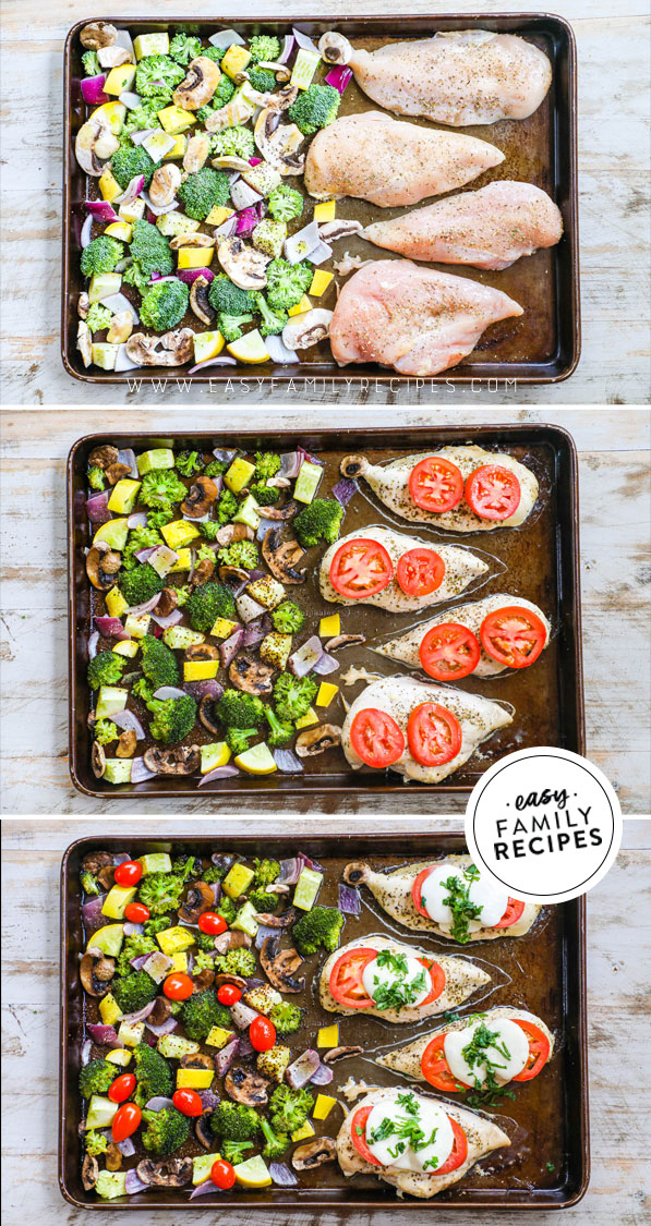 Process photos for how to make Sheet Pan Chicken Caprese