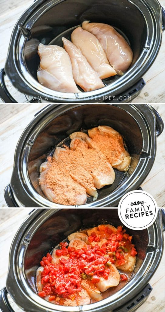 process photos for how to make crockpot chicken tacos