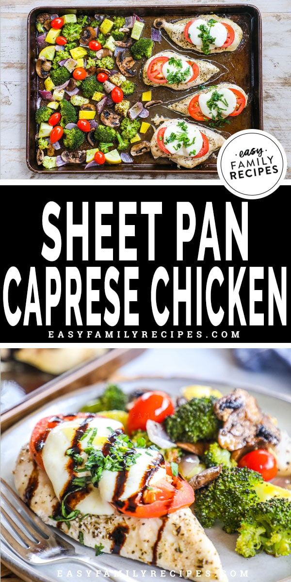 Sheet Pan Chicken and Veggies on pan and served on plate