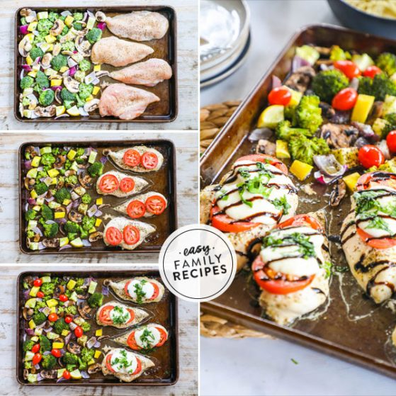 Steps for making Caprese Chicken dinner on a sheet pan