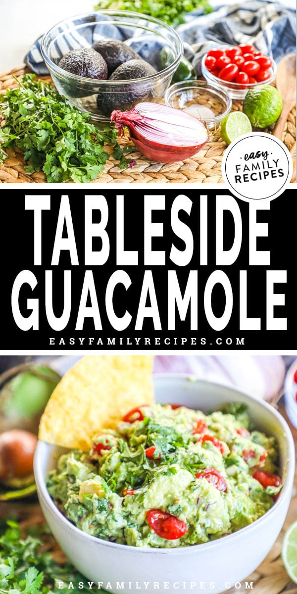 Tableside Guacamole ingredients and prepared in a bowl