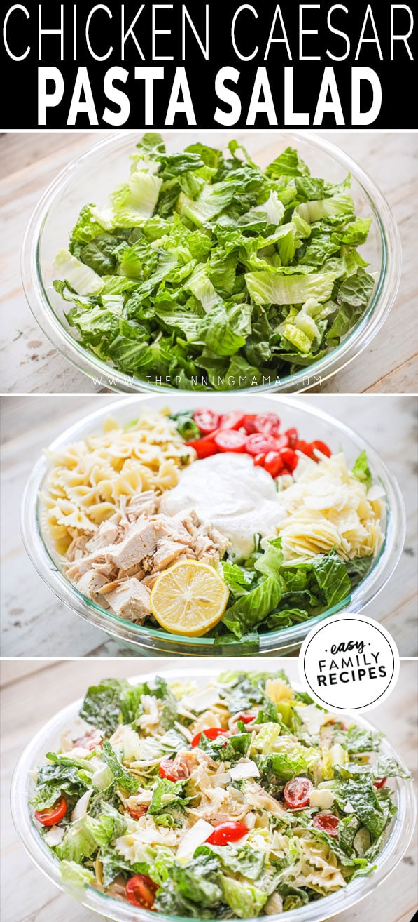 Process photo collage for how to make chicken caesar pasta salad
